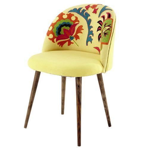 Chaise vintage en coton brodé et bois de sheesham jaune