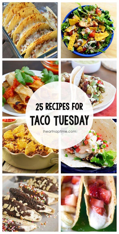 25 recipes for Taco Tuesday on iheartnaptime.com -YUM!