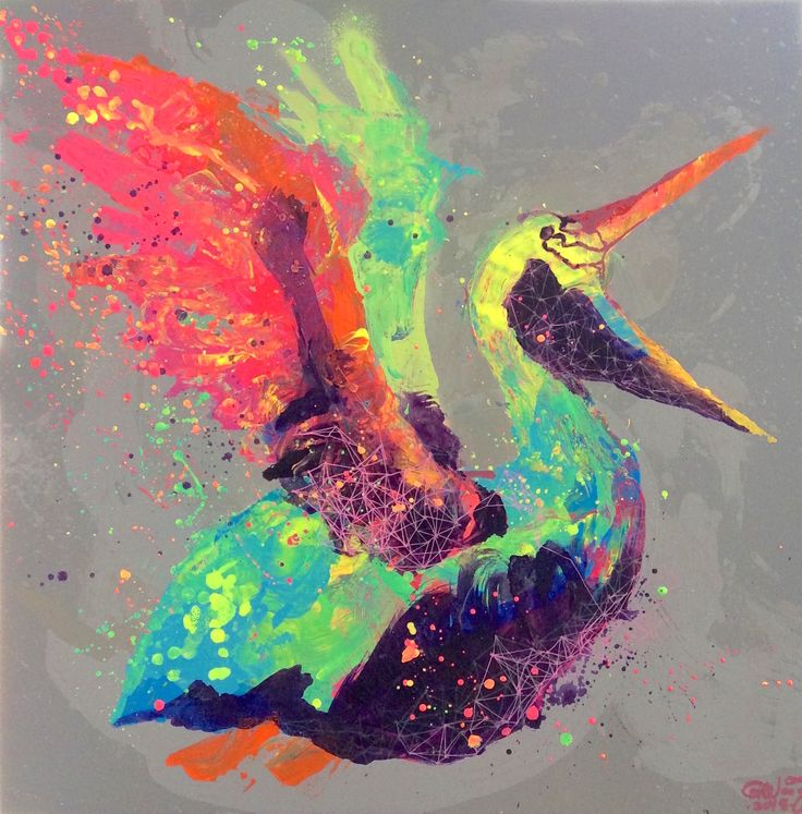 pelican tropical style colourful contemporary art modern painting mixed media over canvas - IG @gabewong1