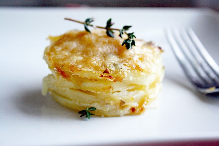 Scalloped Potatoes baked in a muffin tin.