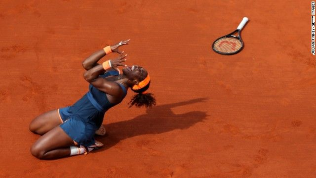 "Serena Williams beats Maria Sharapova 6-4, 6-4 to win the French Open title and is now being dubbed ""the greatest female tennis player"" 16 Grand Slam titles"