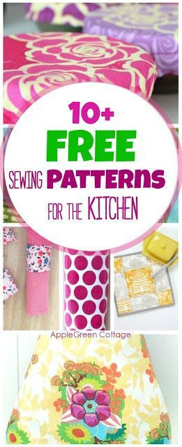 10+ adorable, useful and free DIY sewing projects for your kitchen. All include …