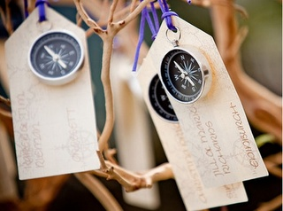 Place settings- something similarish to this but with a compass rose painted on a luggage tag? Or somthing? haha