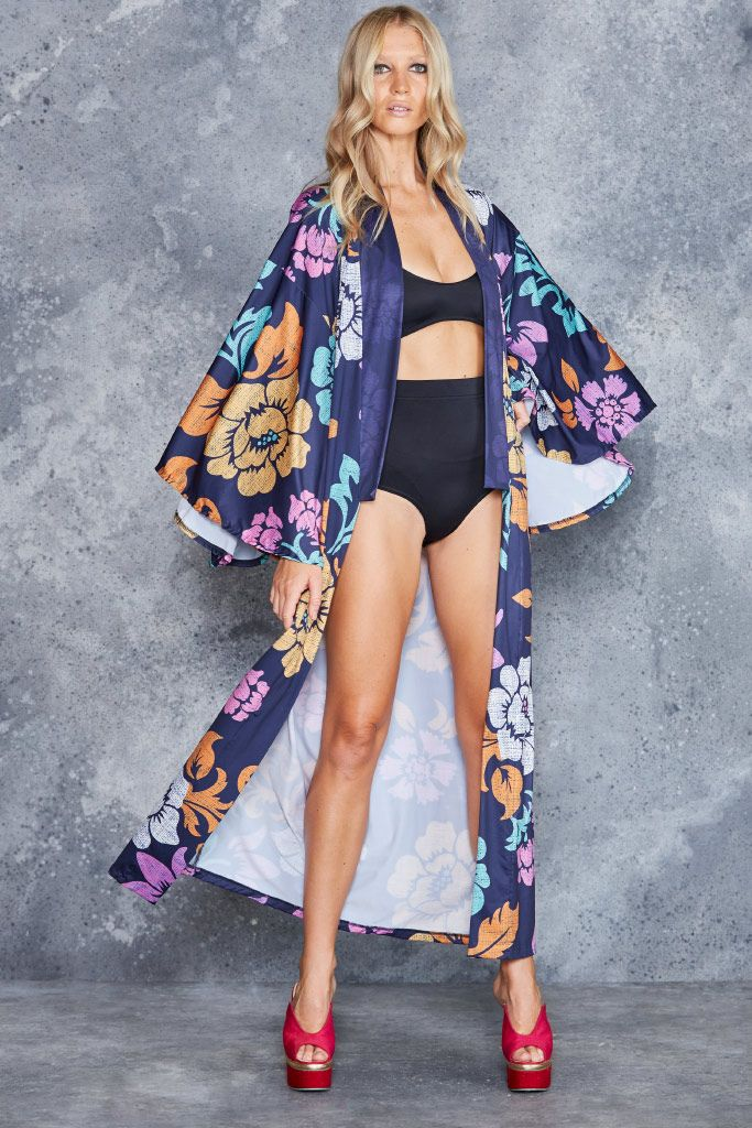 Islander Navy Swan Kimono - CAPPED PRESALE ($160AUD) by BlackMilk Clothing