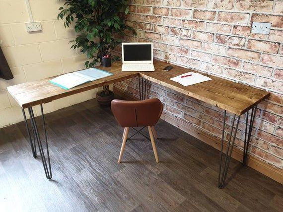 Hairpin Desk Handmade Rustic Timber Desk Steel Hairpin Legs Industrial Style