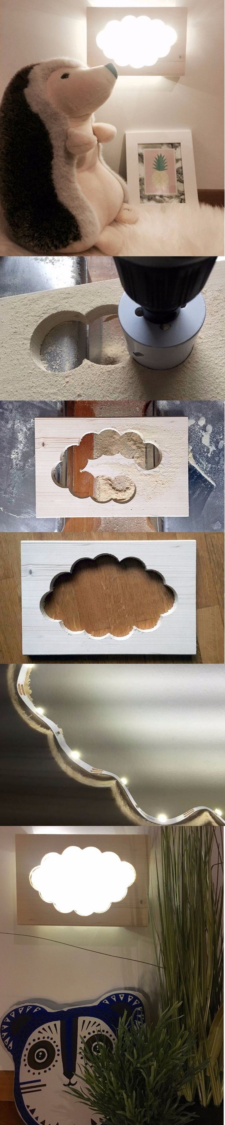 Comment fabriquer une lampe nuage veilleuse en bois avec une perceuse une scie cloche une planche de bois et un ruban LED DIY Deco bricolage Photo Credit ClemAroundTheCorner.com