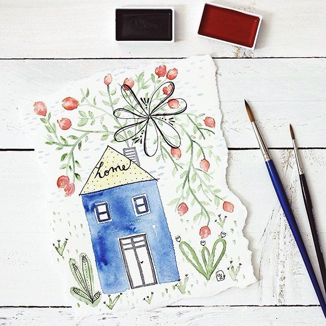 Quicksketch - by Irene Zuccarello     #quicksketch #sketch #dicembre2016 #dicembre #december #watercolor #flowers #home #illustration #drawing #disegno #casa #fiori #rosso #verde #blu #red #green #blu #acquarello #