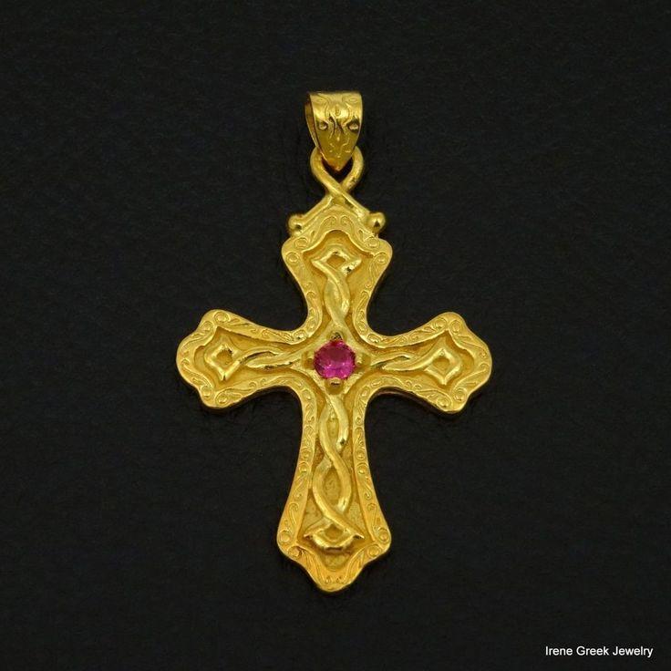 LUXURY PINK RUBY CZ BYZANTINE 925 STERLING SILVER 22K GOLD PLATED GREEK CROSS #IreneGreekJewerly #Pendant