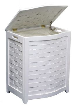 Oceanstar White Finished Bowed Front Veneer Laundry Wood Hamper with Interior Ba contemporary-hampers