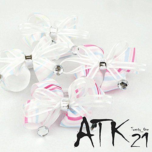 [ATK21] (2個セット) ストライプ リボン ストーン パール ヘアゴム ツインテール キッズ アクセサリー...…