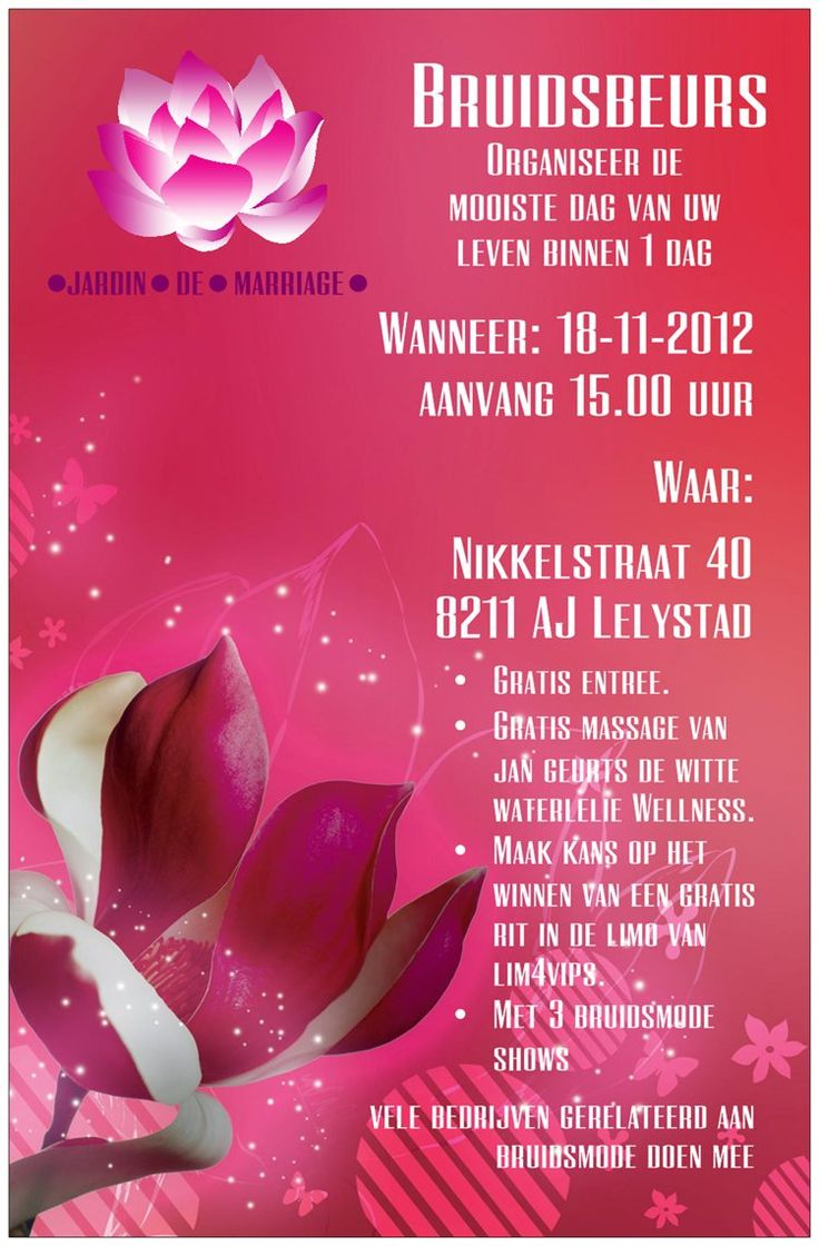 Zondag 18nov: Jardin de Mariage. Bruidsbeurs Nikkelstraat 40 #Lelystad
