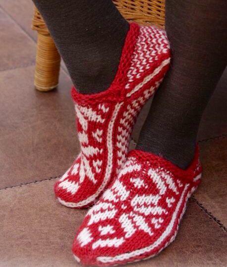 GarnStudio wool knit Nordic slippers