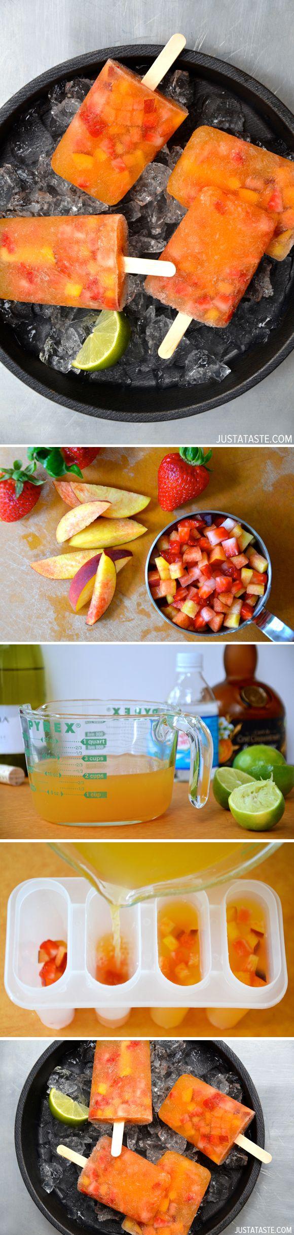 Peach Sangria Popsicles @Just a Taste | Kelly Senyei