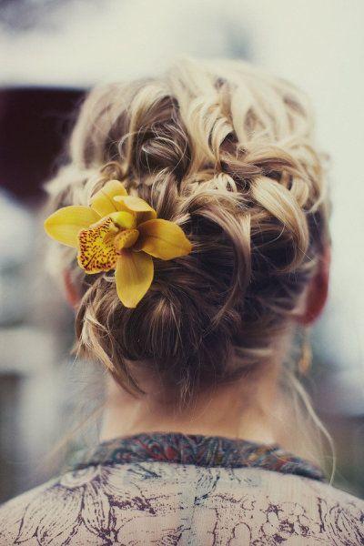 : Hairstyles, Hair Styles, Wedding Ideas, Makeup, Hair Accessories, Updo, Yellow Flower