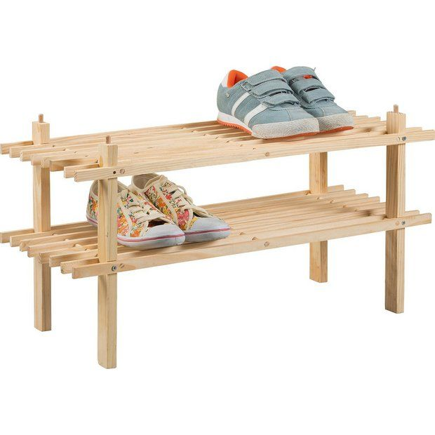 Buy Simple Value 2 Shelf Shoe Storage Rack - Solid Pine at Argos.co.uk - Your Online Shop for Shoe storage, Storage, Home and garden.