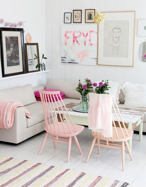 Shades of pink painted chairs