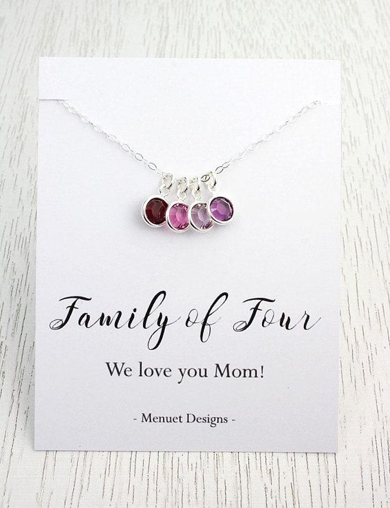 Mother's Birthstone  Necklace, Mother of Four Pendant, Mother of Three, Choice of Message Card, Crystal Birthstones, Birthday Gift