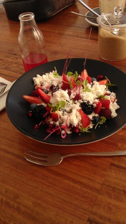 Hammer & Tong, rear of 412 Brunswick St, Fitzroy. This is a pic of the delectable berry salad with yogurt.