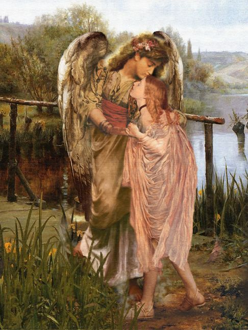 Kissed by an Angel by Howard Johnson  Contemporary Pre-Raphaelite borrow from Lord Leighton