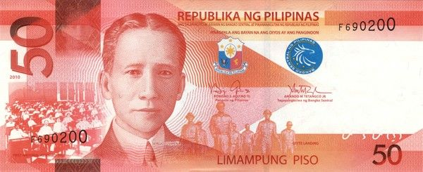 Philippine 50 Peso Bill | Obverse |Design: ▪ President Sergio Osmeña  ▪ First National Assembly 1907  ▪ Leyte Landing  ▪ Seal of the Republic of the Philippines | Design Date: 2010 |