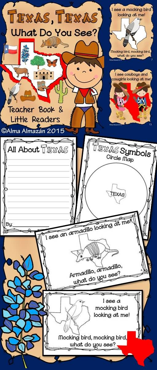 (All About Texas- Pre-K, Kindergarten, First-Reading, Social Studies) Are you looking for fun Texas activities for your students? Well, look no more!  Includes teacher big book & little readers. Texas symbols: Texas outline, bluebonnet, armadillo, Texas flag, pecan tree, monarch butterfly, The Alamo, cactus, cowboy hat, cowboy boots, mocking bird, Texas longhorns, cowboys, and cowgirls. 'All About Texas' writing paper, Texas Tree Maps, & Circle Map. Created by Alma Almazan