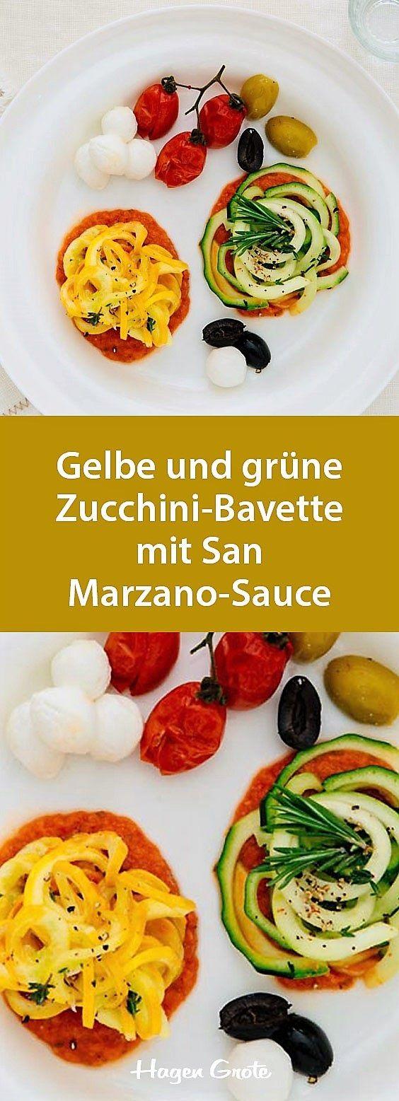 Gelbe und grüne Zucchini-Bavette mit San Marzano-Sauce