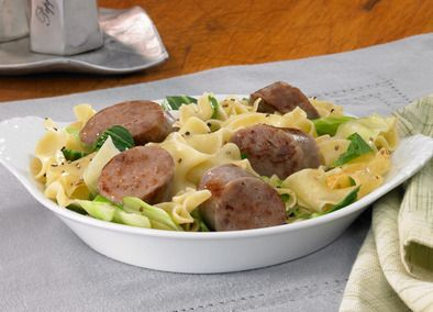 Johnsonville Pork & Chicken Traditional Bratwurst, Cabbage and Noodle Skillet   Delicious, easy and satisfying!