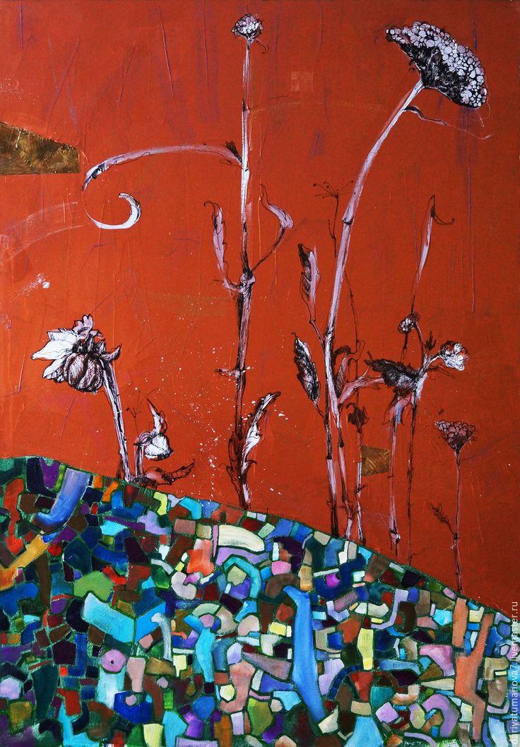 Купить или заказать Триптих 'Цветы и травы' в интернет-магазине на Ярмарке Мастеров. Очень фактурная, эфектная картина. Фон-медный акрил. Цветы сделаны тушью и пером. Масляные краски использованы для цветных вставок. Картина покрыта лаком. Хорошо смотрится как в раме, так и без нее.
