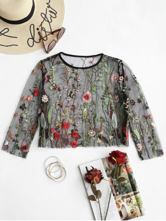 a461618923844 Up to 80% OFF! Floral Embroidered Sheer Mesh Blouse.  Zaful  Tops zaful