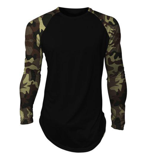 Camisa long line oversized Camuflada Exército Raglan Manga Longa Preta - comprar online