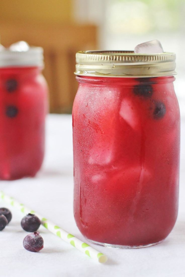 Blueberry Lemonade. Meyer lemon juice and a simple syrup made from water, sugar and blueberries.