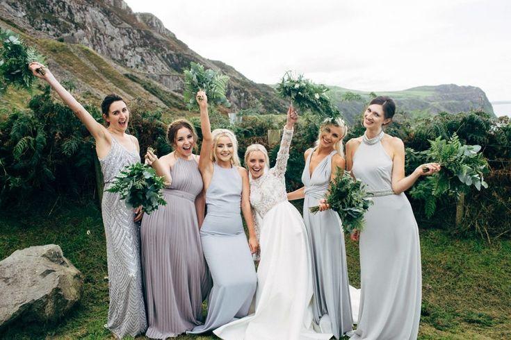 Dale Weeks Photography | Stylish Welsh Wedding | Emma Beaumont Wedding Dress | Mis-Match High Street Grey Bridesmaid Dresses | Green Foliage Bouquets