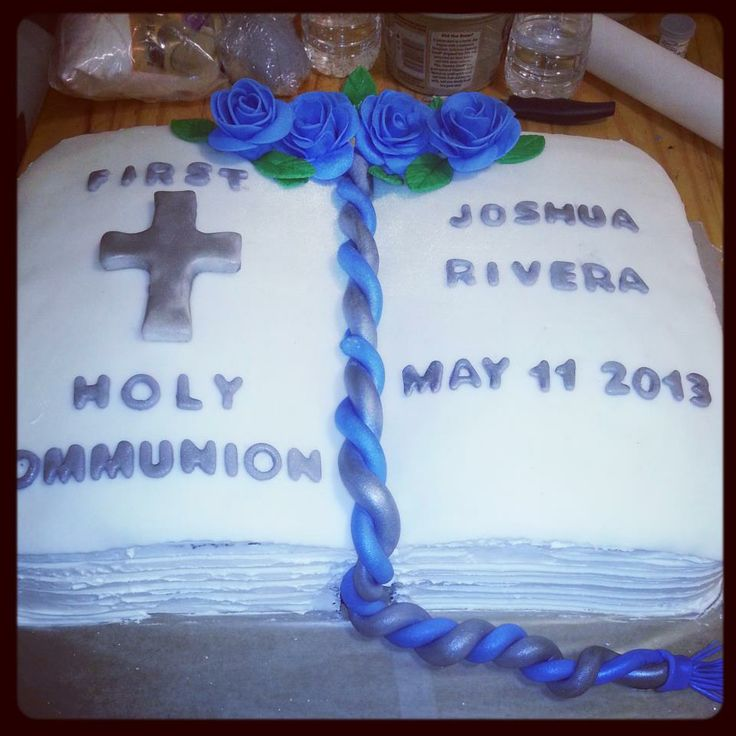 Holy Communion open book cake