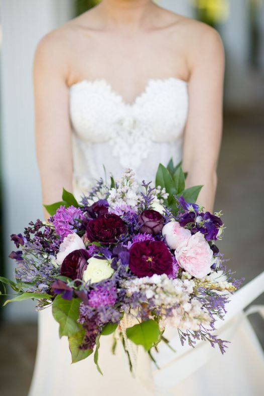 bride's bouquet with shades of purple and green http://emmalinebride.com/themes/winery-style-wedding/