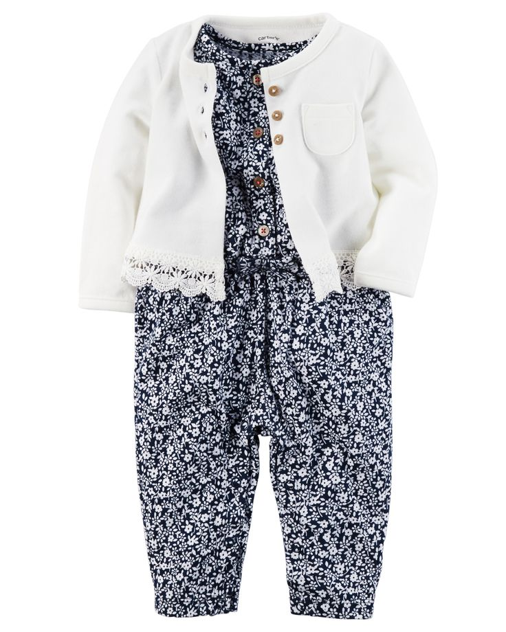 Baby Girl 2-Piece Jumpsuit & Cardigan Set from Carters.com. Shop clothing & accessories from a trusted name in kids, toddlers, and baby clothes.