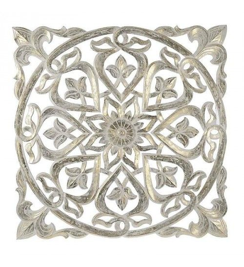 WOODEN WALL DECOR IN WHITE-GOLD COLOR 100X3X100