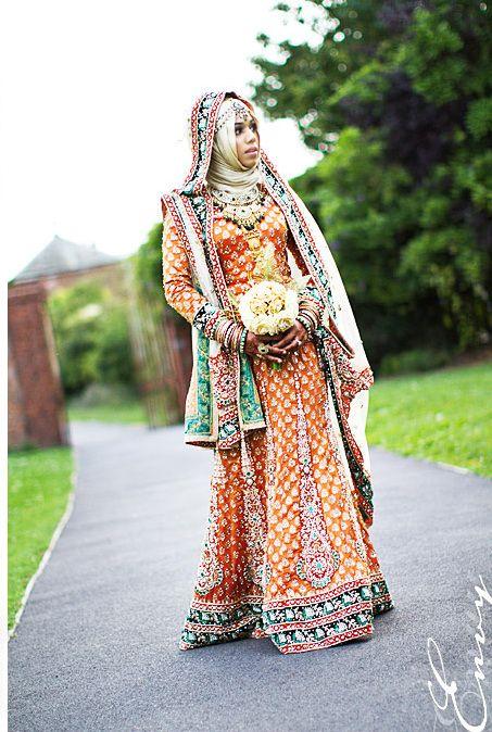 Colourful and Modest Wedding Dress. I adore the bright, celebratory spirit.