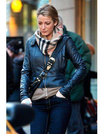 Blake Lively sporting a cute motorcycle jacket - Harper's BAZAAR