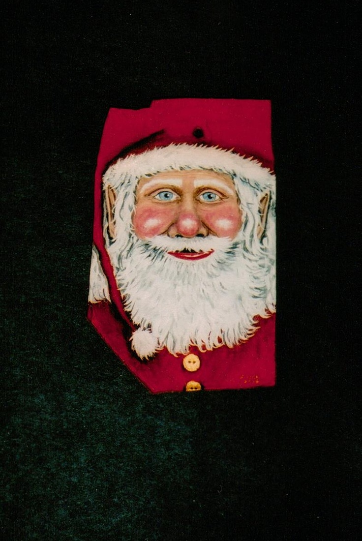 Santa face ornaments - Santa Claus Handpainted Ornament On Smooth Stone Santa With Gold Buttons And Elf Ears