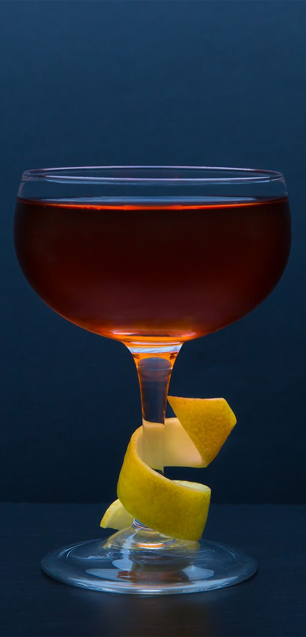 Vieux Carre - classic cocktail with equal parts Cognac and Rye, as well as Sweet Vermouth, Benectine and Angostura and Peychaud's bitters.