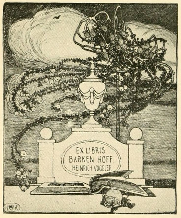 Bookplate by Heinrich Johann Vogeler for Barken Hoff, 1901