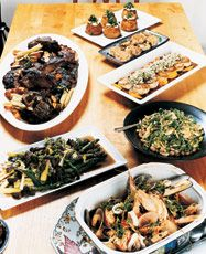Warm Asparagus With Spring Leeks, Fava Beans, and Mushroom Jus