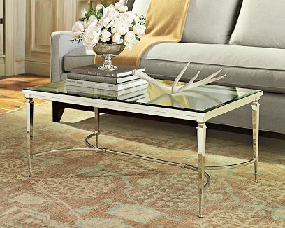 Polished nickel plate frame and tempered glass top coffee table from  William Sonoma Home - 54 Best Coffee Tables Images On Pinterest