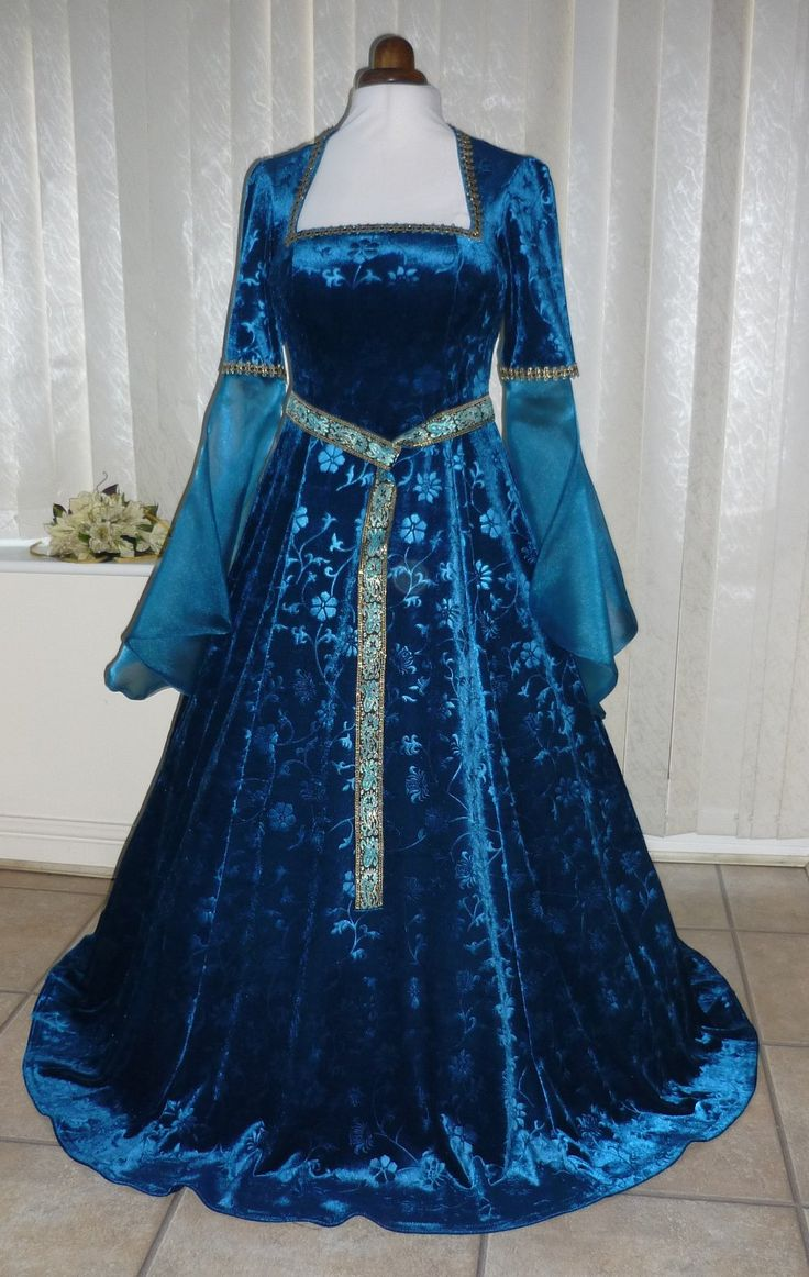 lotr medieval renaissance teal blue dress dawns medieval