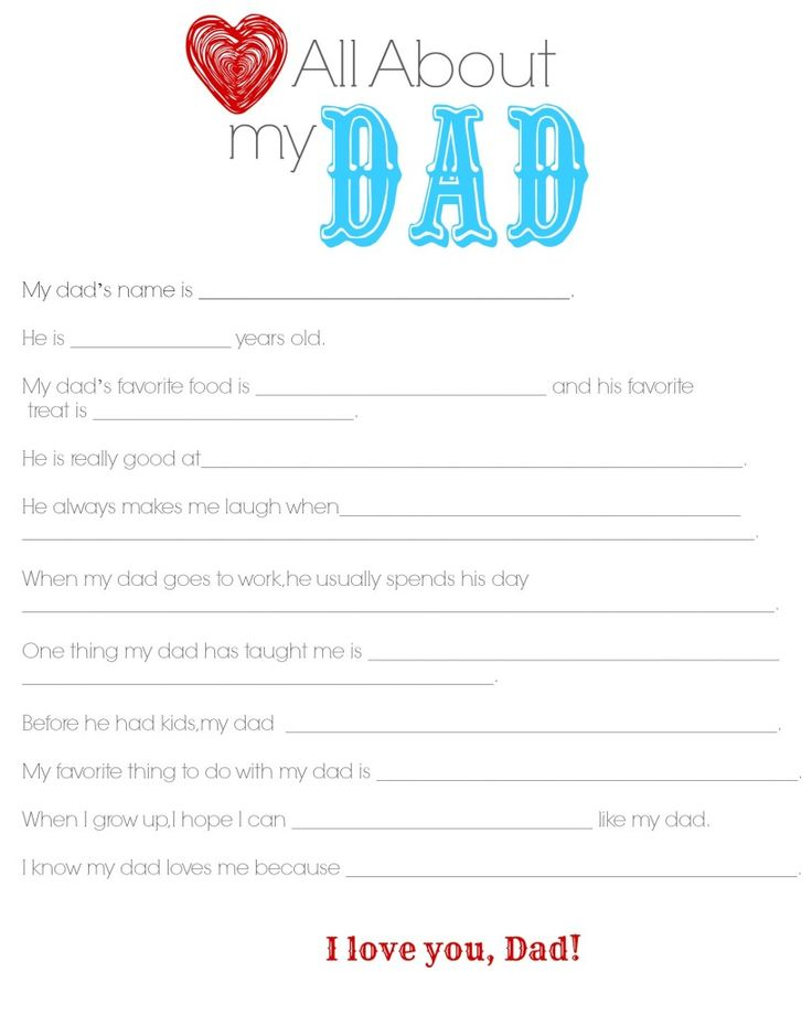 "Father's Day Questionnaire ""All About My Dad"" - My teenagers actually jumped at the chance to do this and thought it looked like fun!  (I think it was really a competition to see who knew their dad the best! ha!)"