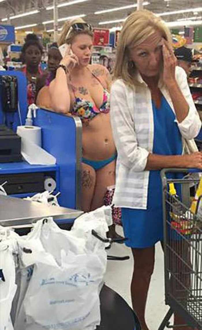 Let's wear the ugliest bikini we can find and go to Walmart. Those tats are so gross!