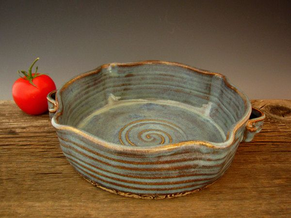 Rustic Baking Dish with Handles - Blue - Casserole - Wheel Thrown Pottery - by DirtKicker Pottery. $45.00, via Etsy.