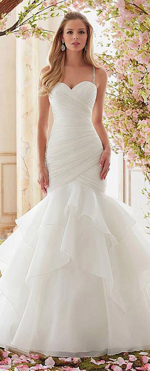 Gorgeous Organza Spaghetti Straps Neckline Mermaid Wedding Dresses With Beadings