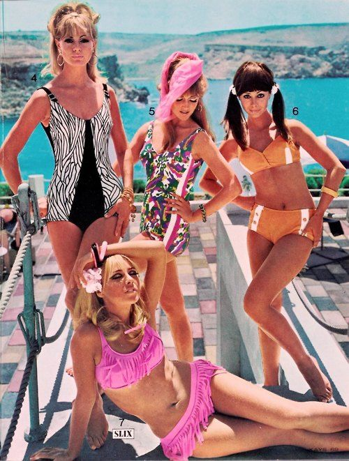 Beachwear, 60s Sixties vintage swimwear