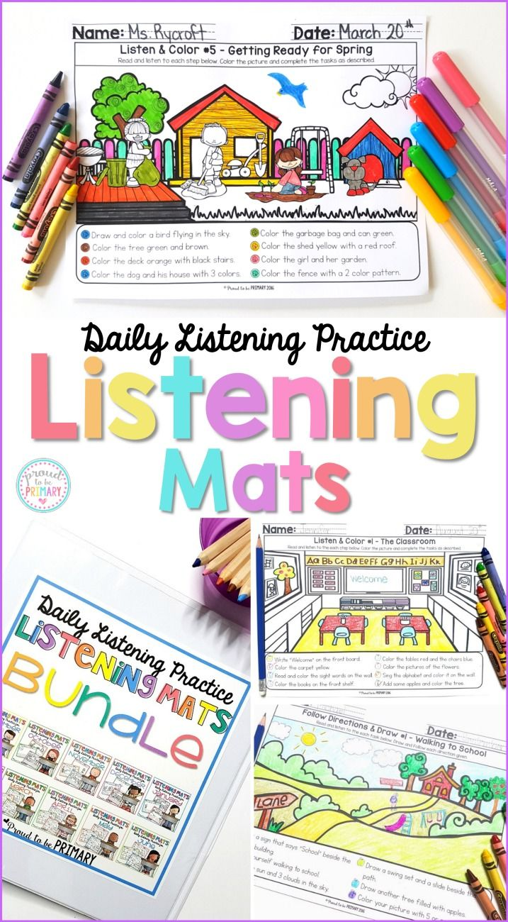 Help kids practice and build their listening skills and following instructions at school daily with Listening Mats. The activities are great for whole group or small group instruction, homework, centers, fast finishers, and morning work. #listeningskills #followinstructions #teachingideas #classroommanagement #firstgrade
